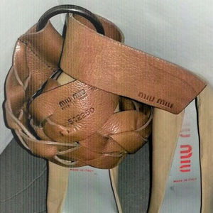 MIU MIU BROWN BRAIDED LEATHER BELT SIZE 36/EURO 90